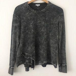 Splendid Aurora Waffle-Knit Sweatshirt Thermal